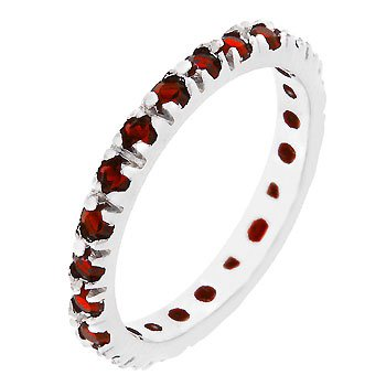 NEW White Gold Silver Ruby Red CZ Eternity Ring