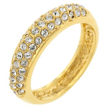 NEW 14k Gold Pave Crystal Contemporary Ring