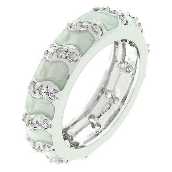 NEW White Gold Silver Grey Enamel CZ Ring