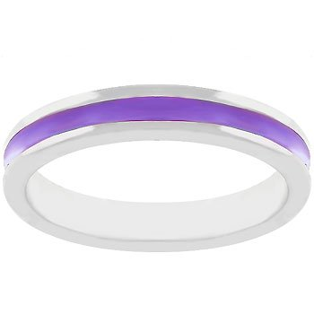 NEW White Gold Silver Purple Enamel Eternity Ring