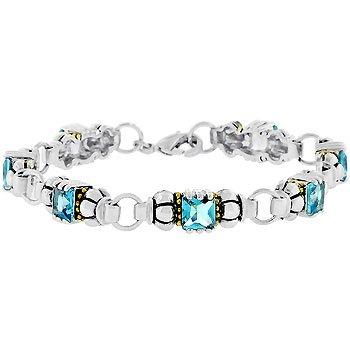 NEW 14K White Gold Silver Tone Aqua Blue CZ Bracelet