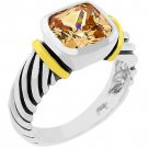 NEW Cable Champagne Cubic Zirconia Silver Ring