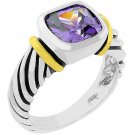 NEW Cable Amethyst Cubic Zirconia Silver Ring