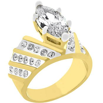 NEW Marquis Cubic Zirconia 14K Gold Plated Ring