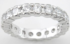 NEW 925 Sterling Silver CZ Platinum Enternity Ring