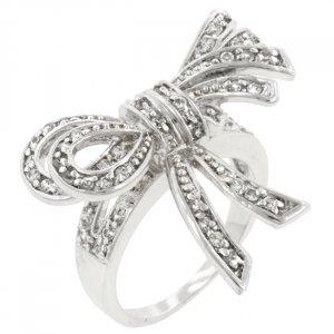 White Gold Rhodium Bonded Bow Inspired Fashion Ring