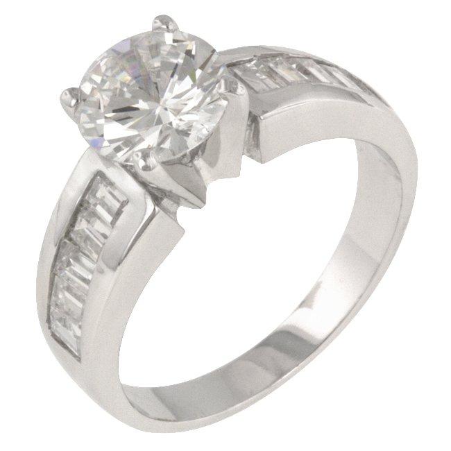 White Gold Rhodium Bonded CZ Engagement Ring