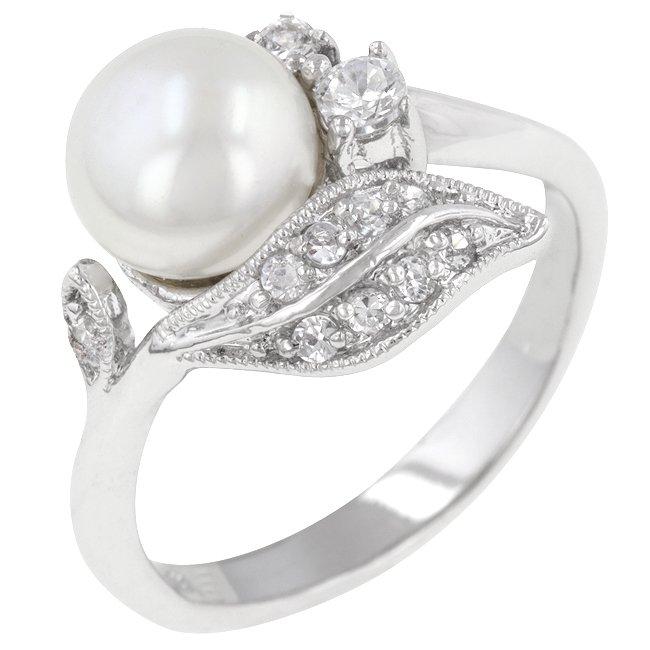 White Gold Rhodium Bonded Antique  White Pearl Ring