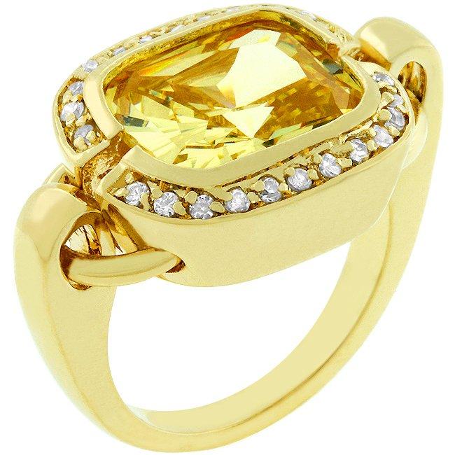 14k Gold Bonded Bezel Set Jonquil Cushion Cut Ring
