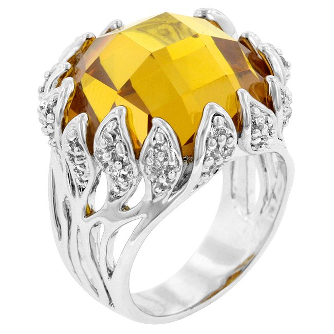 White Gold Rhodium Bonded Vintage Yellow CZ  Ring