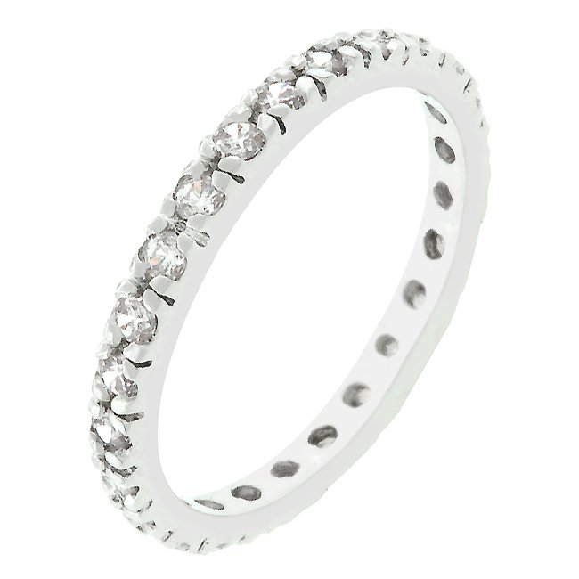 White Gold Rhodium Bonded Clear CZ  Eternity Ring