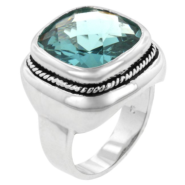 White Gold Rhodium Bonded  Aqua CZ  Cocktail Ring
