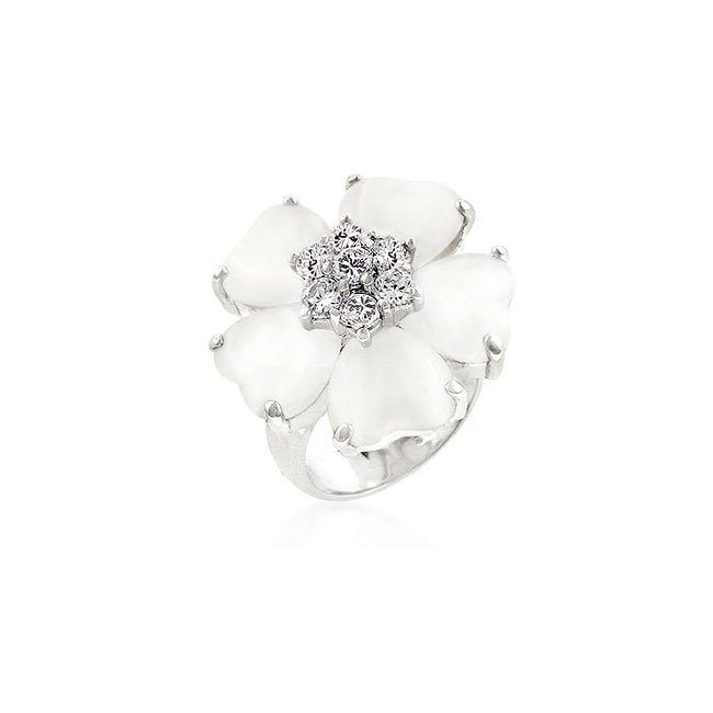 White Gold Rhodium Bonded Floral  Cats Eye CZ Ring