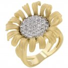 14k Gold Bonded Ring with Round Cut Clear CZ Ring