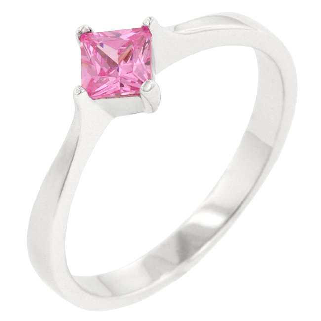 .925 Sterling Silver Pink Ice CZ Engagement Ring