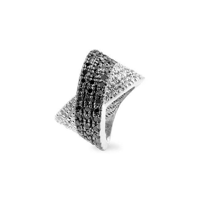 White Gold Rhodium Bonded Black Jewelers Ink Ring