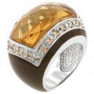 White Gold Rhodium Bonded Champagne CZ Center  Ring