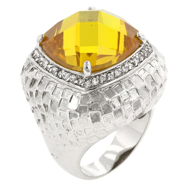 White Gold Rhodium Bonded  Multi-Faceted Yellow CZ Ring