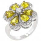 White Gold Rhodium Bonded Pear Cut Yellow  CZ Ring