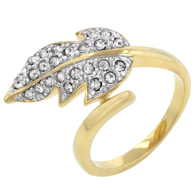 14k Gold Bonded Round Cut Clear Crystal Cocktail Ring