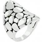 White Gold Rhodium Bonded Cobblestone Ring