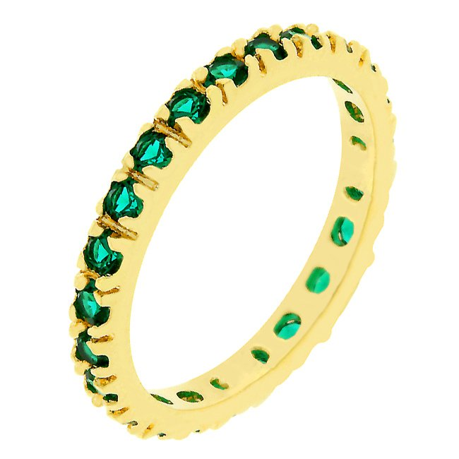 14k Gold Bonded Emerald Green Eternity Ring