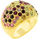 14k Gold Bonded Pave Multicolor Crystal Dome Ring