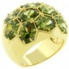 14k Gold Bonded Dome Pave Olive CZ Ring