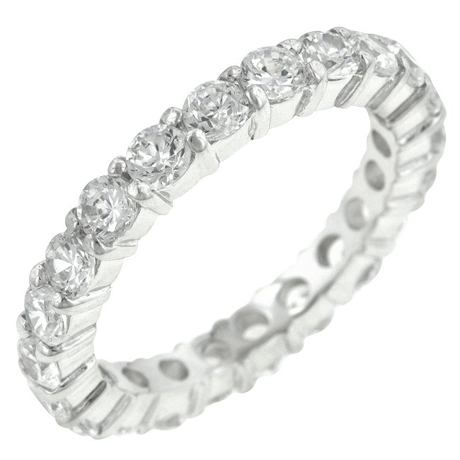White Gold Rhodium to 925 Sterling Silver Eternity Ring