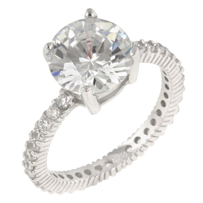White Gold Rhodium 925 Sterling Silver Engagement Ring