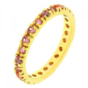 14k Rose Gold Bonded Pink Ice CZ Eternity Ring