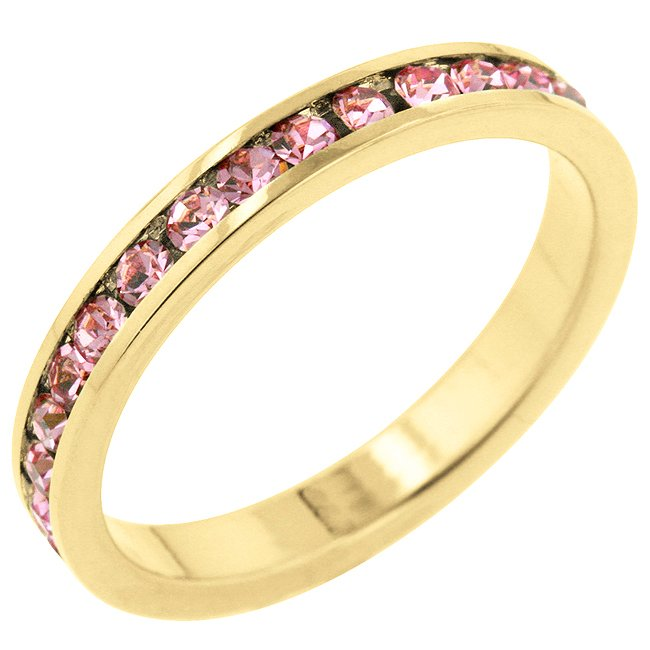 14k Gold Bonded Round Cut Clear CZ Stacker Ring
