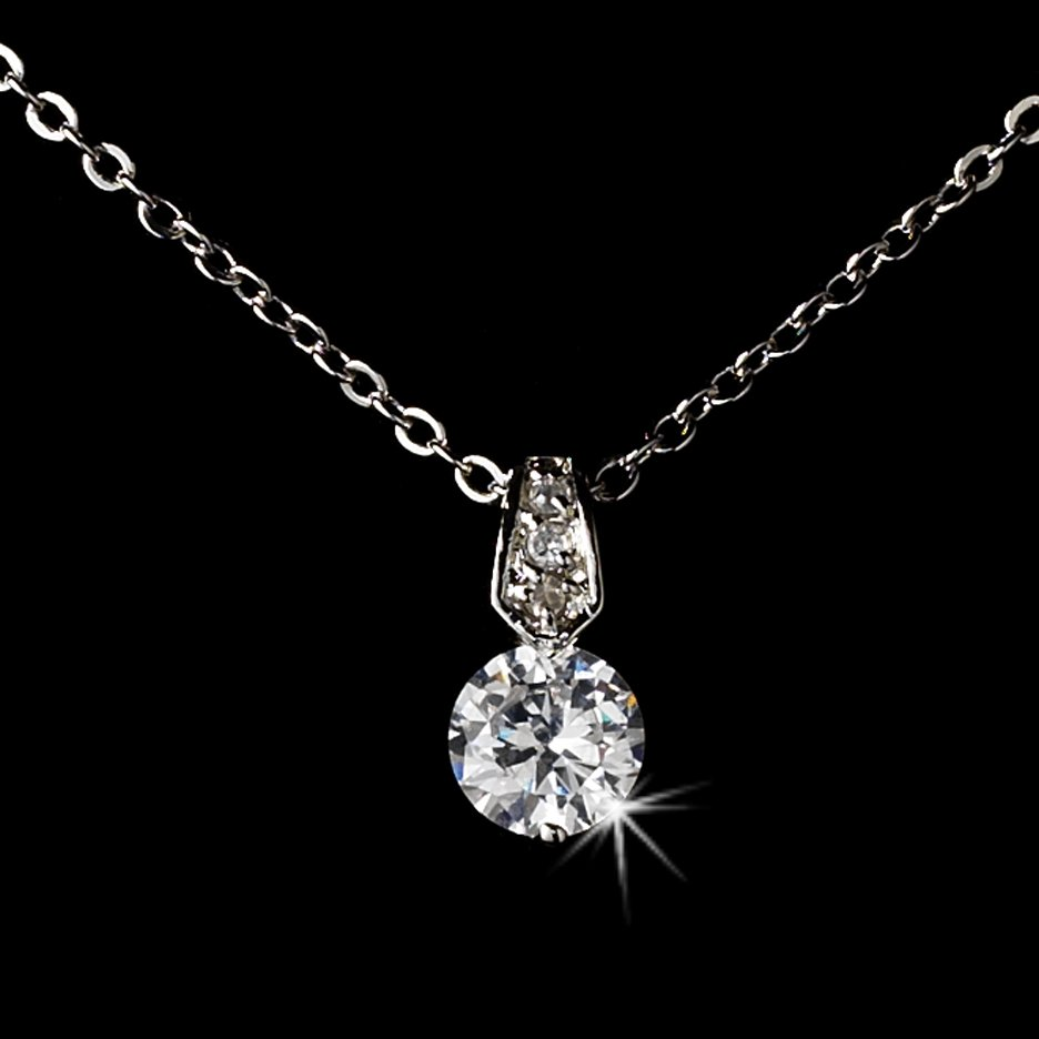 Silver CZ Crystal Pendant Necklace Earring Set