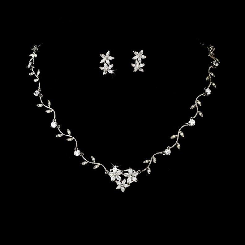 Silver CZ Crystal Star Vine Necklace Earring Set