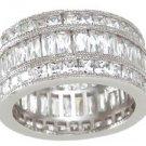 New 925 Sterling Silver CZ Triple Eternity Ring