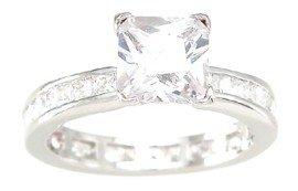 New 925 Sterling Silver CZ Princess Cut Ring
