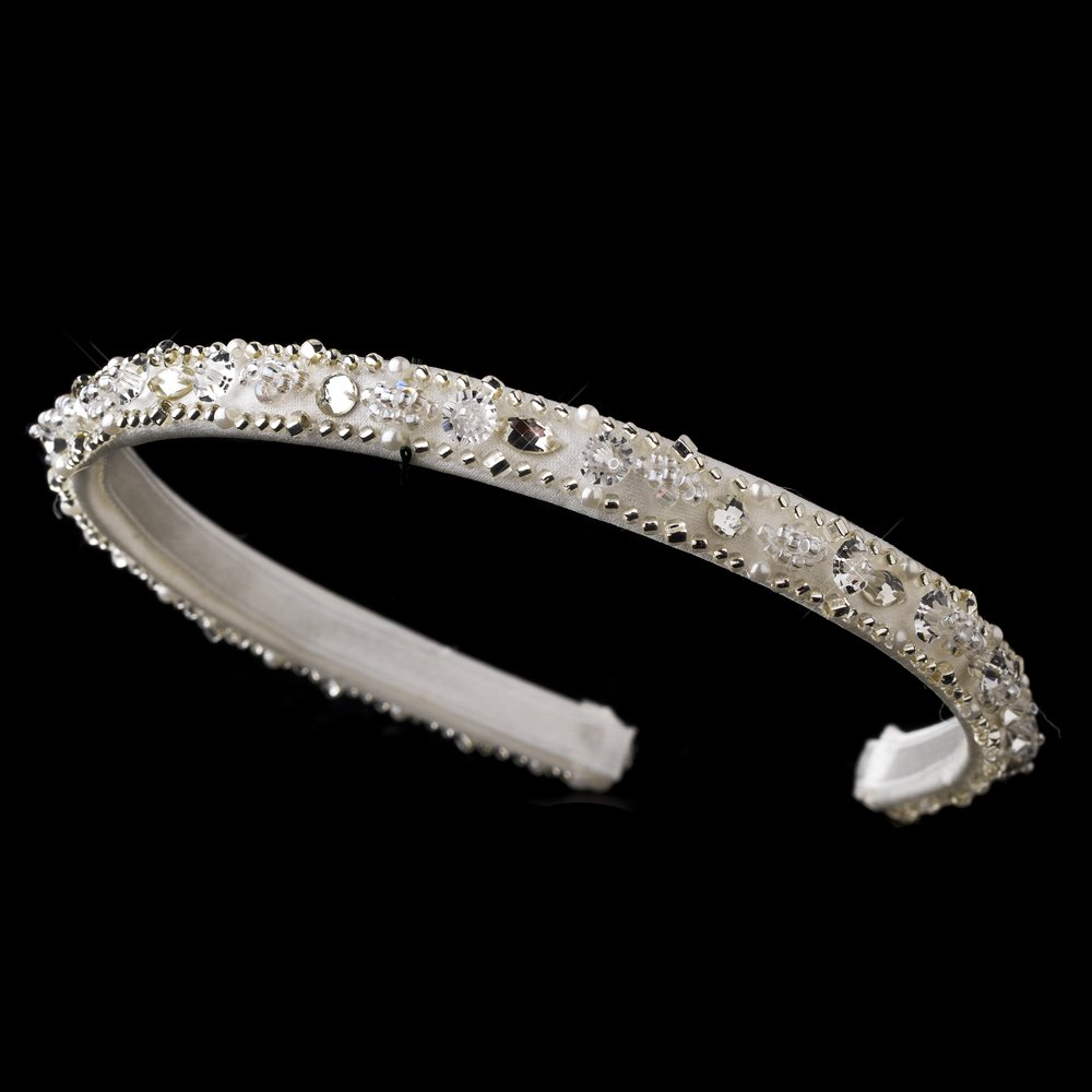 Ivory Sparkling Crystal Beaded Headband Tiara