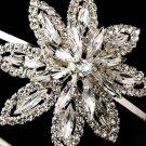 Silver Clear Rhinestone Flower Headband Tiara