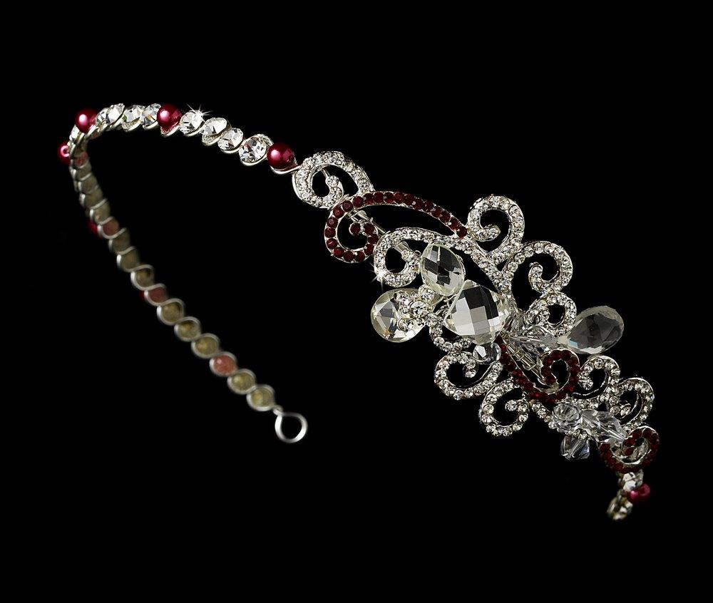 Silver Red Clear Swarovski Crystal Headband Tiara