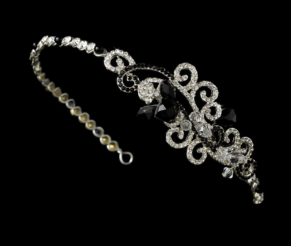 Silver Black Clear Swarovski Crystal Headband Tiara