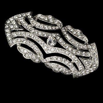 Silver Vintage Style CZ Crystal Bridal Brooch Pin