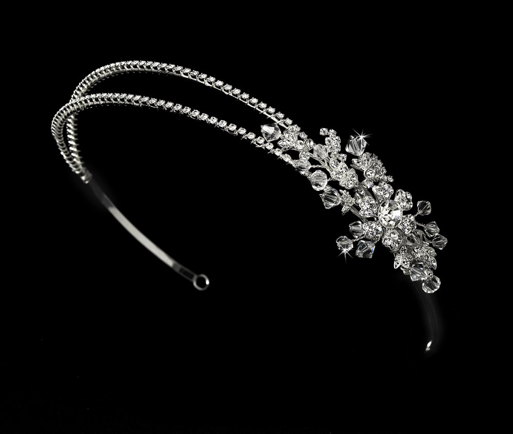 Silver Rhinestone Floral Crystal Headband Tiara