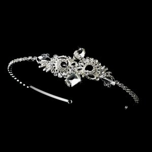 Silver Austrian Crystal Rhinestone Headband Tiara