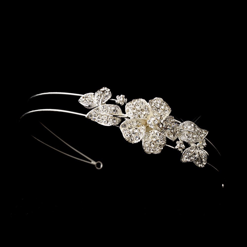 Silver Rhinestone Crystal Floral Headband Tiara