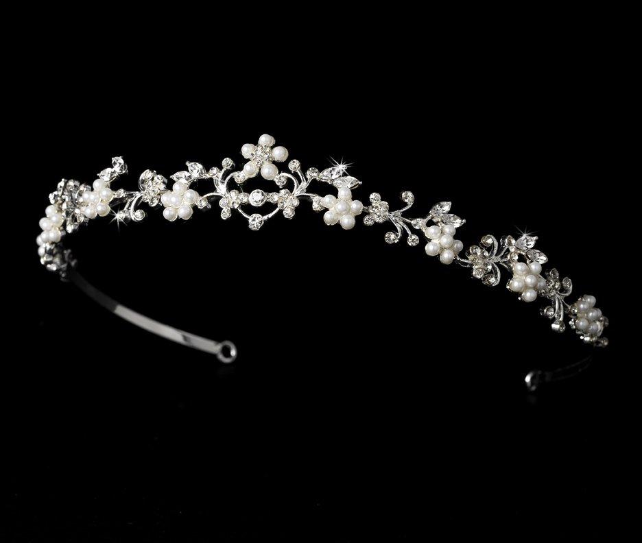 Silver Rhinestone White Pearl Bridal Headband Tiara