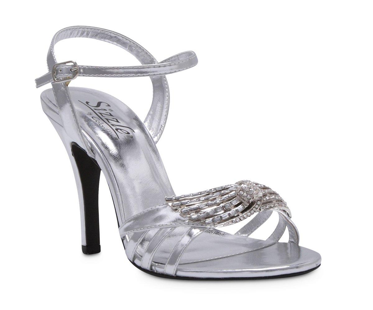 Silver Metallic Rhinestone Bridal High Heel Shoes