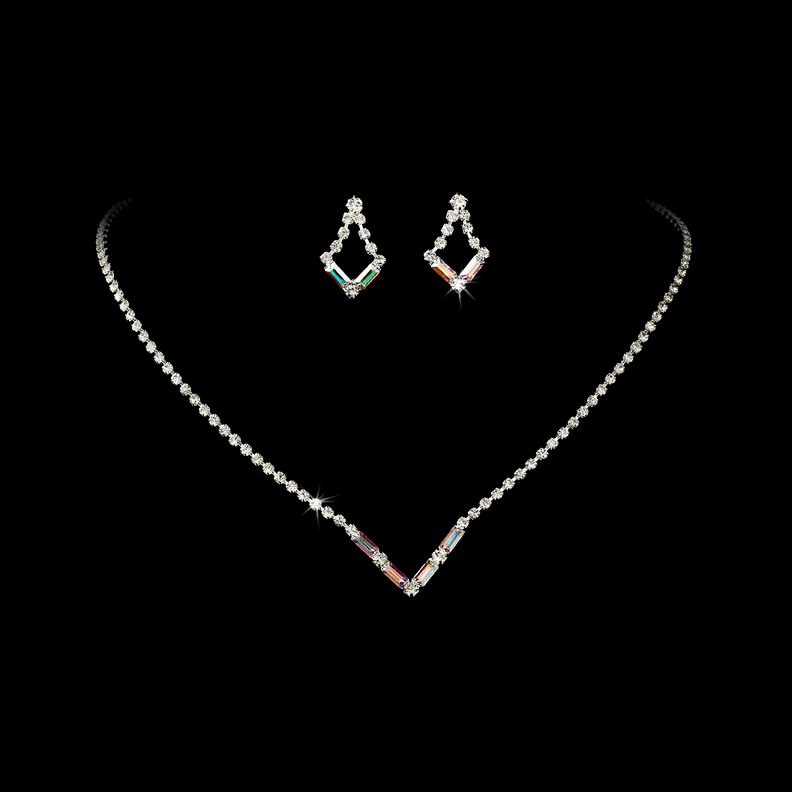 Silver AB Crystal V-Shaped Necklace Earring Set