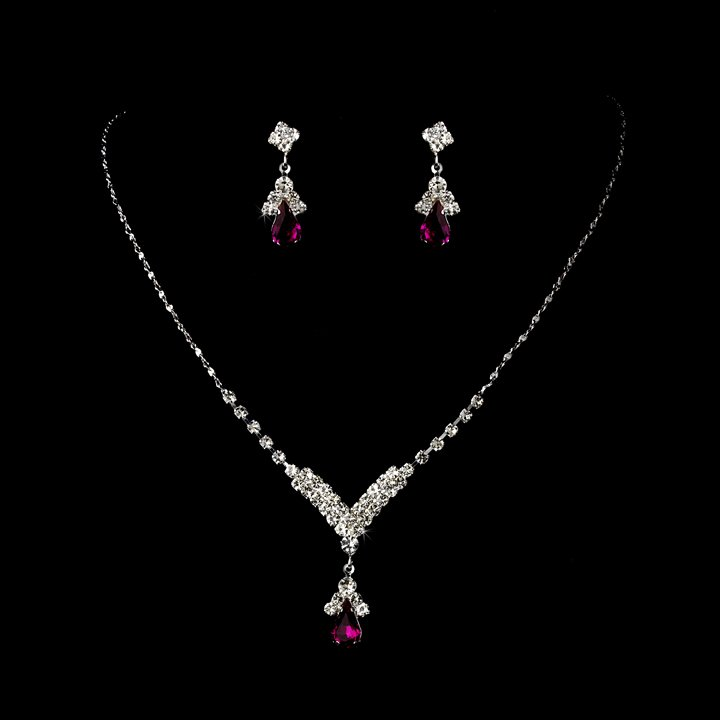 Silver Fuchsia Crystal Teardrop Necklace Earring Set