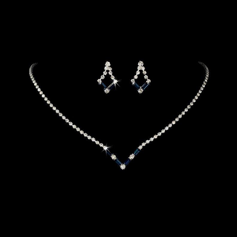 Silver Navy Blue Crystal V-Shaped Necklace Earring Set