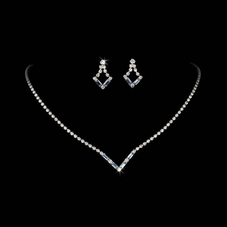Silver Light Blue Crystal V-Shaped Necklace Earring Set